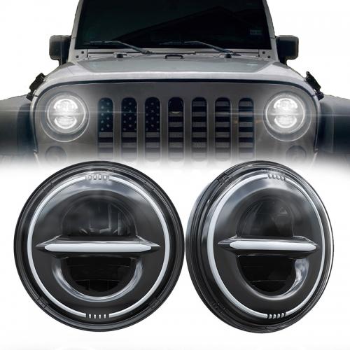 7 Round Led Halo Headlight para sa 2010 Jeep Wrangler Ang JK JKU na may Drl at Amber Turn Signals