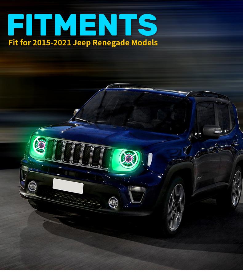 RGB Jeep ਰੇਨੇਗੇਡ ਹੈਲੋ ਹੈਡਲਾਈਟਸ ਫਿਟਮੈਂਟ